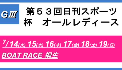 【桐生】G3第53回日刊スポーツ杯 オールレディース(初日) 競艇予想
